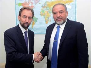 FM Liberman with UN High Commissioner for Human Rights, Prince Zeid Al-Hussein of Jordan in New York (Photo: Shahar Azran/MFA)