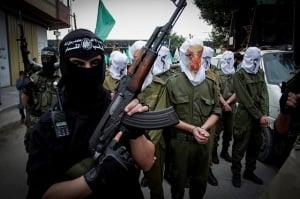 Hamas terrorists on parade. (Photo: Abed Rahim Khatib/ Flash90)