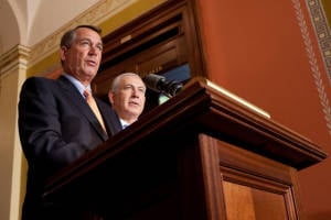 PM Netanyahu and US Speaker of the House John Boehner during a press conference in 2011. (Photo: Flickr)