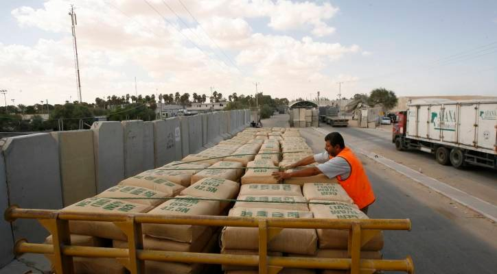 Israel sends cement to Gaza