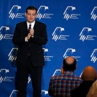 The audience applauds presidential candidate Sen. Ted Cruz