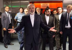 An elated  Iranian Foreign Minister Mohammad Javad Zarif.