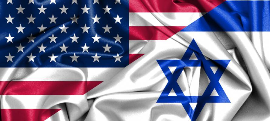 United States and Israeli flags