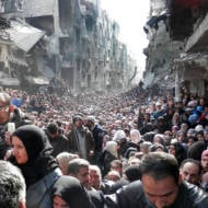 Palestinian Refugees in Yarmouk refugee camp in Damascus
