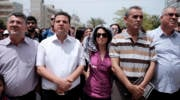 Leader of the Arab Joint List, Ayman Odeh (2L) seen with MK Jamal Zahalka (2R) and  MK Hanin Zoabi (C) at a memorial service during a rally marking the Nakba anniversary at the Tel Aviv University in Tel Aviv on May 15, 2016. Palestinians mark the Nakba day today, commemorating the expulsion and fleeing of Palestinians from their lands as a result of the 1948 war that led to the creation of the Jewish state. Photo by Tomer Neuberg/Flash90 *** Local Caption *** ???????? ???? ????? ?????? ???? ????? ??? ?????? ? ???? ?? ???? ????? ???? 48  ????? ??????? ??? ????? ?? ????  ?????? ? ?????????? ?? ???? ????? ????