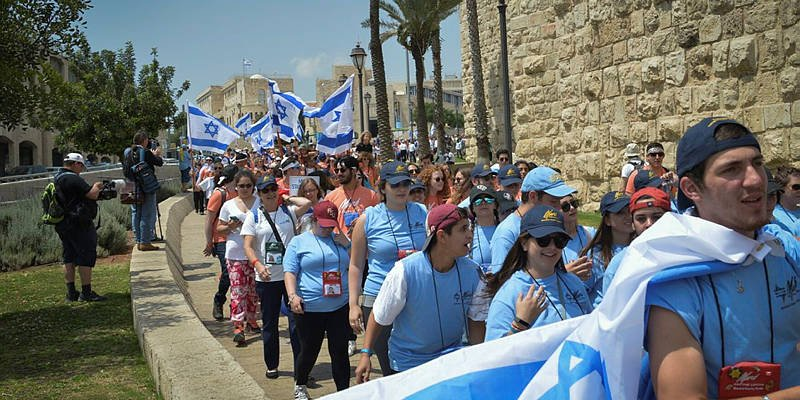 Israeli youth march in Jerusalem with flags