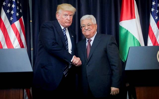 Palestinian leader Mahmoud Abbas and US president Donald Trump