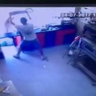 Terrorist neutralized with pizza platter