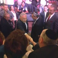 PM Netanyahu greets UWI Founder Michael Gerbitz at media conference in Jerusalem (Photo: UWI)