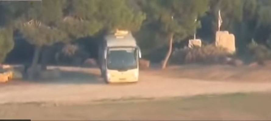 Bus just before hit by missile
