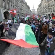 Anti-Israel protestors in Switzerland. (AP Photo/Keystone /Lukas Lehmann)