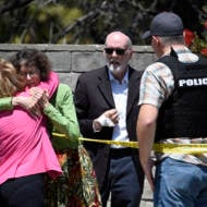 The scene of a shooting attack at the Chabad of Poway synagogue in California. (AP Photo/Denis Poroy)