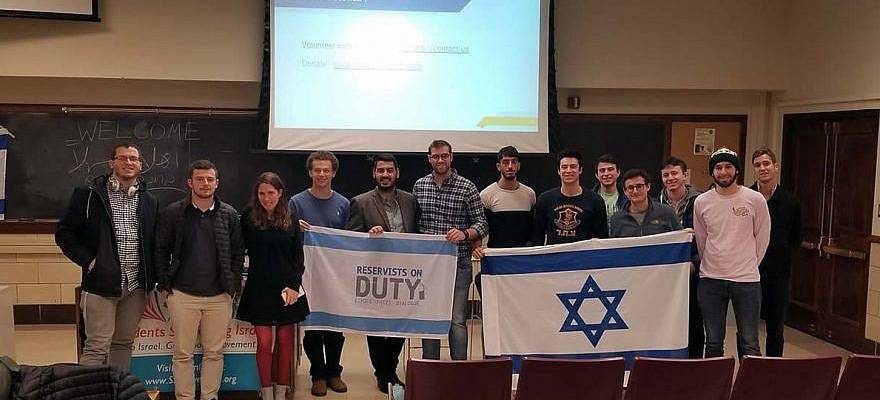 Reservists on Duty at University of Illinois, Urbana-Champaign, speaking to students about life in Israel. (Courtesy)