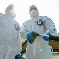 Firefighters disinfect coronavirus quarantine area Sheba medical center