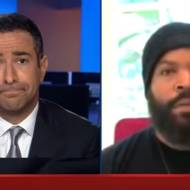 MSNBC's Ari Melber (L) interviews rapper-actor Ice Cube